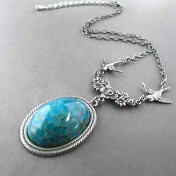 Turquoise Necklace Victorian Birds Antique Silver Choker Vintage Glass Stone Blue-Green Jewelry Teal Pendant Art Deco Flower Bohemian Style