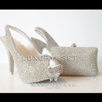 Bridal luxury, Clear crystal (casing) slingback SET