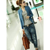 Women Blue Cotton Stand Collar Double-Breasted One Size Jacket @HX1495b
