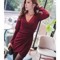 Wine Red Side Gold Buckle Slim Deep V-neck Dress@XYZ9709wr