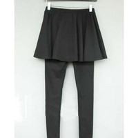 Black Pleated Skirt Slim Fake Two-Piece Leggings@XYZ9741b