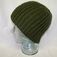 Unisex Crochet Cable Hat Olive Green Crochet Winete Men Women