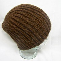 Unisex Crochet Cable Hat Brown Crochet Winter Men Women