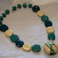 Kazuri green and cream necklace