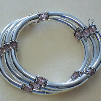 Crystal and tubes bracelet, Lavender