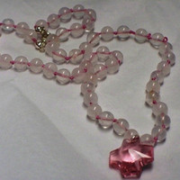 Knotted rose quartz with crystal cross necklace