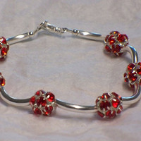 Rhinestone and tubes bracelet, Ruby red
