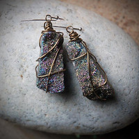 Druzy Earrings, rustic, boho holiday sparkle, large statement jewelry