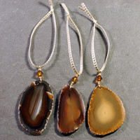 Gemstone Ornament Set - Agate Slice Ornament -  Natural Colors - Tree Decoration and Gift Idea
