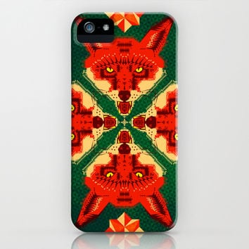 Fox Cross geometric pattern iPhone & iPod Case by Chobopop