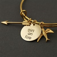 Girl on Fire Adjustable Bangle Bracelet - Spiffing Jewelry