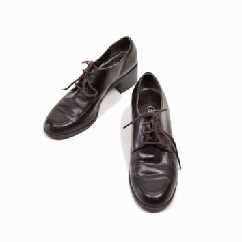 Vintage Chunk Heel Leather Oxfords in Chestnut - 6