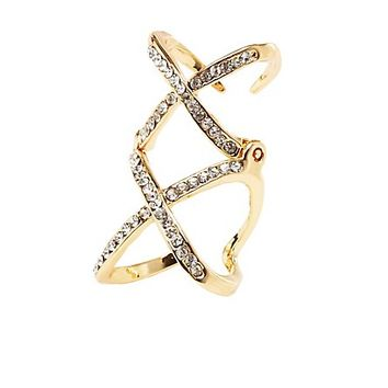 Hinged Rhinestone XX Cage Ring by Charlotte Russe - Gold
