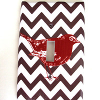 Brown Chevron Double or Single Light Switch Cover Oversized Cherry Red Bird