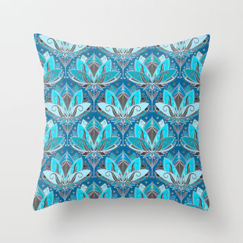 Art Deco Lotus Rising - black, teal & turquoise pattern Throw Pillow by Micklyn