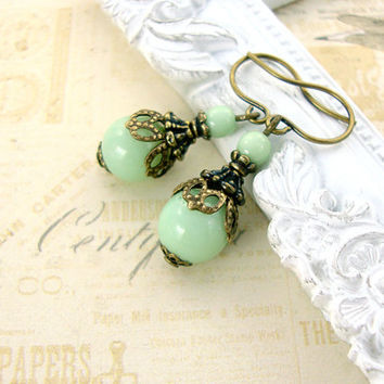 Mint Green Victorian Earrings - Antique Style Czech Bead Earrings - Antique Brass Bronze Mint Jewelry - Light Green Victorian Mint Earrings
