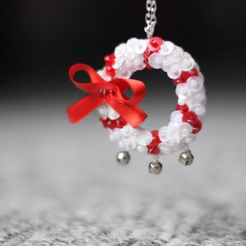 Sequin Wreath Pendant, Jingle Bells Necklace, Embroidered Felt Jewelry, Red White Sequins, Christmas Bow Pendant