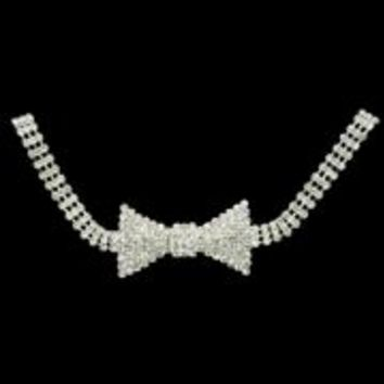 12in long x 1 1/4in Wide rhinestone Bowtie Necklace