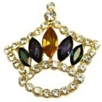 1 3/4in Tall x 1 3/4in Wide Mardi Gras Crown Pin/Brooch W/White Rhinestones And 5 Large Purple Green Gold Rhinestones