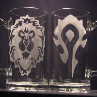 "World of Warcraft Alliance or Horde inspired Beer Mug Engraved Glass ""PICK YOUR STYLE"""