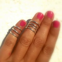 2 Above the Knuckle Rings - Wire Wrapped Above Knuckle Ring Simple Silver Wrap Around - set of 2