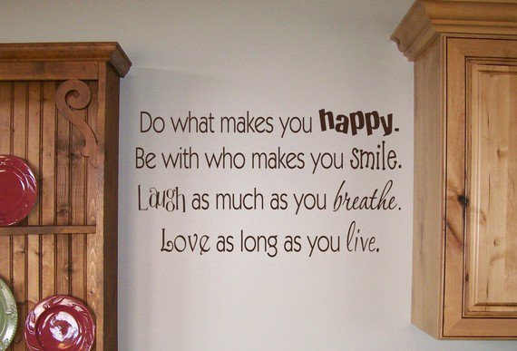 29x15 Do what makes you happy Smile Laugh Breath Vinyl Large French Decor  Wall Lettering Words Quotes Decals Art Custom Willow Creek Signs