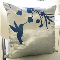 Silver Grey Hummingbird with Eucalyptus 16 inches Square Pillow