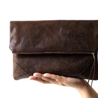 Vegan Clutch, handbag,  fold over clutch, FAUX LEATHER, faux suede in brown, very soft and lightweight, Ready To Ship.