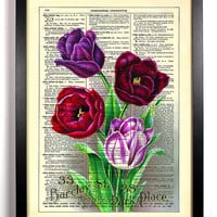 Bright Vintage Flowers Repurposed Book Upcycled Dictionary Art Vintage Book Print Recycled Vintage Dictionary Page Buy 2 Get 1 FREE