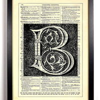 Letter B Block Filigree Typography Repurposed Book Upcycled Dictionary Art Vintage Book Print Recycled Dictionary Page Buy 2 Get 1 FREE