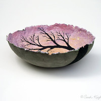 mauve morning light, decorative landscape handmade paper bowl, large size
