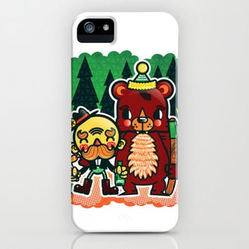 Lumberjack and Friend iPhone & iPod Case by Chobopop