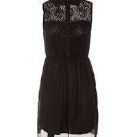 Cameo Rose Black Lace Chiffon Sleeveless Dress