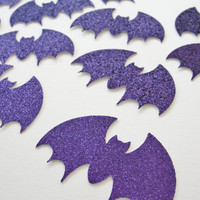 Halloween Bat Cutouts, Purple Glitter Bats, Paper Bat Cutouts, Purple Halloween Decoration Tag Embellishment, Set of 12