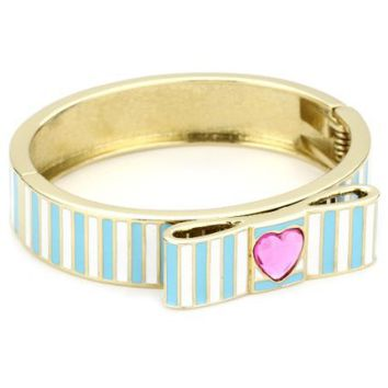 "Betsey Johnson ""Farmhouse"" Striped Heart Bangle Bracelet - designer shoes, handbags, jewelry, watches, and fashion accessories 