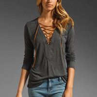 Blue Life Material Girl Lace Up Top in Lava from REVOLVEclothing.com
