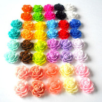 Cabochon 60 pcs- 18x16mm roses - Flat back, flower jewelry :  rings, earrings, bobby pins, necklace,