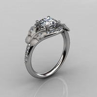 Nature Inspired 18K White Gold 1.0 CT White Sapphire Diamond Butterfly and Vine Engagement Ring, Wedding Ring NN117S-18KWGDWS