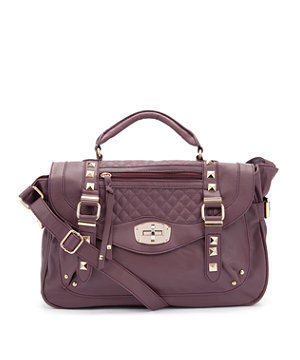 Aubergine Quilted Stud Satchel
