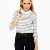 Cute Striped Top - Grey Top - Collared Top - $47.00