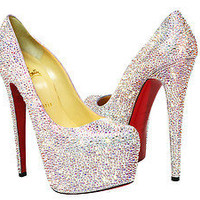 **NIB** 100% Authentic Christian Louboutin Daffodile/Daffodil AB Crystal Pumps