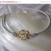 50% OFF SALE Gold and silver rhinestone Headband tiara