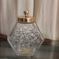 Vintage Avon Floral Glass Jar