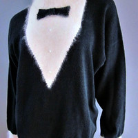 Vintage 80s Tuxedo Sweater Bow Tie Pearl Angora Fur not Ugly Christmas NYE Cocktail Party Slouchy Jumper