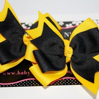 NEW Hufflepuff Harry Potter Inspired Set of 2 Stacked Pinwheel Hair Bows Clips or Pony Os