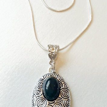 Black and Silver Necklace, Black Pendant, Art Deco Jewelry, Sterling Silver Necklace