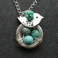 Original Signature Design,Lovely Bird and Nest Turquoise Jasper Eggs sterling silver Necklace