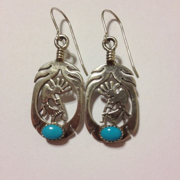 ON SALE Navajo Turquoise Kokopelli Sterling Earrings New Silver Nugget Co Albuquerque 925 Vintage Tribal Southwestern Jewelry Gift