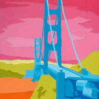 "Golden Gate Bridge Fine Art Print 8""x10"" San Francisco California Colorful Wall Decor Gifts Under 10"