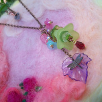 Necklace Flower Bouquet with Dragonfly Charm